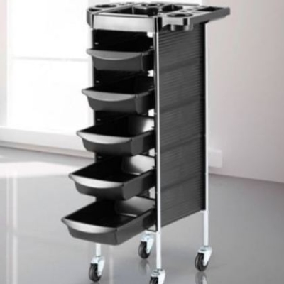 Salon Trolley Black Chrome